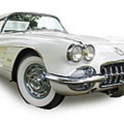 59-60 Corvette White On White Poster