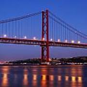 April Bridge In Lisbon Poster