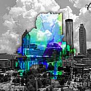 Atlanta Map And Skyline Watercolor Poster