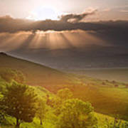 Beautiful English Countryside Landscape Over Rolling Hills Poster