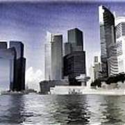 Financial District Of Singapore And View Of The Water In Singapore Poster