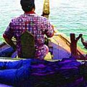 Lady Sleeping While Boatman Steers Poster