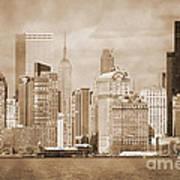 Manhattan Buildings Vintage Poster