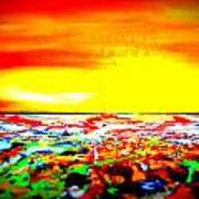 Modern Abstract Painting Original Canvas Art  Sunset By Zee Clark Poster