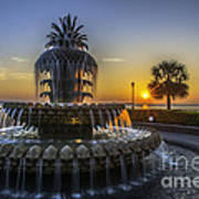 Sun Rays Over Waterfront Park Poster