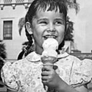 Girl With Ice Cream Cone Poster