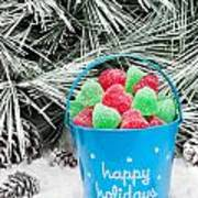 Decorative Pail Of Christmas Candy Poster