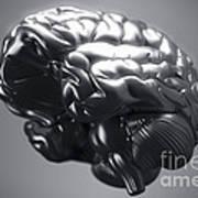 Metallic Brain Poster