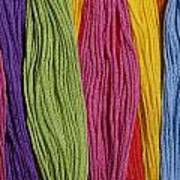 Multicolored Embroidery Thread In Rows Poster