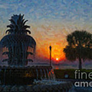 Pineapple Fountain At Dawn Poster