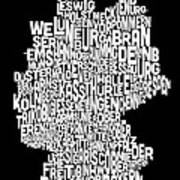 Text Map Of Germany Map Poster by Michael Tompsett
