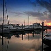 Yachts At Sunset Poster