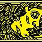 Dusseault Angel Cherub Yellow Black Poster