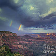 749220049 Double Rainbow Cape Royal North Rim Grand Canyon National Park Poster