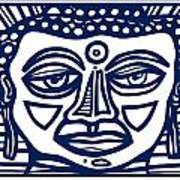 Trivane Buddha Blue White Poster