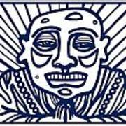 Frisby Buddha Blue White Poster