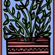 Sako Plant Leaves Red Green Blue Poster