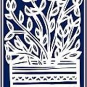 Stearne Plant Leaves Blue White Poster