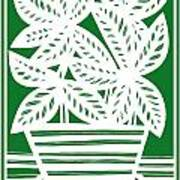 Stole Plant Leaves Green White Poster