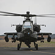 Ah-64 Apache Helicopter On The Runway Poster
