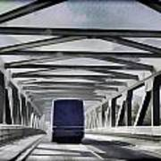 Blue Citylink Bus On A Metal Bridge In Scotland Poster