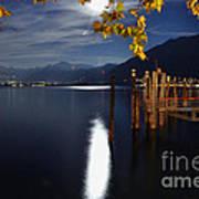 Moon Light Over An Alpine Lake Poster