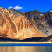 Mountains Pangong Tso Lake Leh Ladakh Jammu And Kashmir India Poster