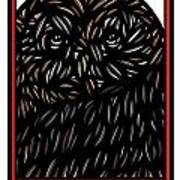 Pettry Owl Blue Brown White Poster