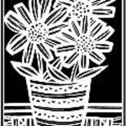 Imbue Flowers Black And White Poster