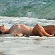 8369 Nude Island Girl Lying In Surf  Poster