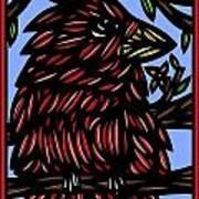 Batra Bird Brown Black Green Blue Poster