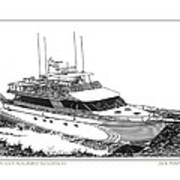 85 Foot Custom Nordlund Motoryacht Poster by Jack Pumphrey