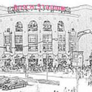 8th And Clark Busch Stadium Sketch Poster