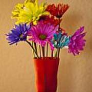Daisies In A Vase On Shelf Poster