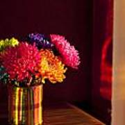 Multicolored Chrysanthemums In Paint Can Poster
