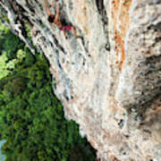 A Athletic Man Rock Climbing High Poster