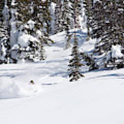 A Backcountry Skier A Turn Near Ymir Poster