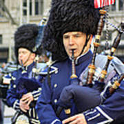 A Bagpiper Marching In The 2009 New York St. Patrick Day Parade Poster