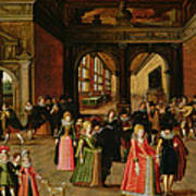 A Ball During The Reign Of Henri Iv Oil On Panel Poster