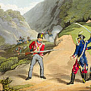 A British Soldier Taking Two French Poster by John Augustus Atkinson