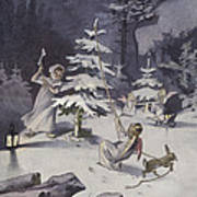 A Cherub Wields An Axe As They Chop Down A Christmas Tree Poster