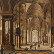 A Church Interior With Elegant People Poster
