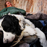 A Climber And Her Dog Lay Poster