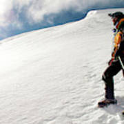 A Climber On The Glacier Of Cotopaxi Poster