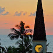 A Clock Tower At Sunset On Maui, Hawaii Poster