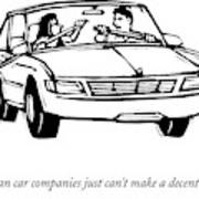 A Couple In A Car With Oars Out The Windows Poster