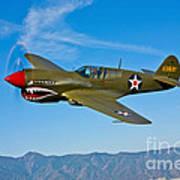 A Curtiss P-40e Warhawk In Flight Poster
