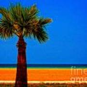A Digitally Converted Painting Of A Lone Palm Tree At The Seaside Poster