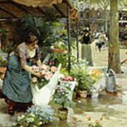 A Flower Market In Paris Poster