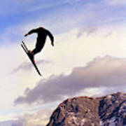 A Freestyle Skier Takes A Jump In Utah Poster